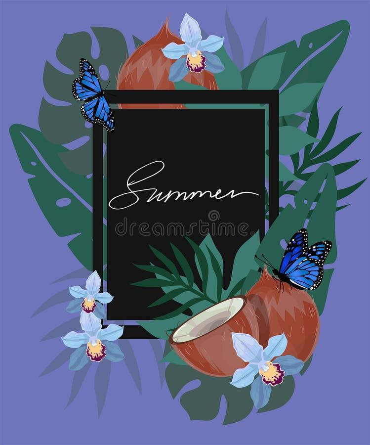 De zomer hand het getrokken van letters voorzien en tropische installaties, bladeren en bloemen Vector illustratie stock illustratie