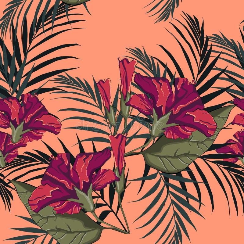 De zomer Hawaiiaans naadloos patroon met hibiscusbloemen en palmbladen vector illustratie