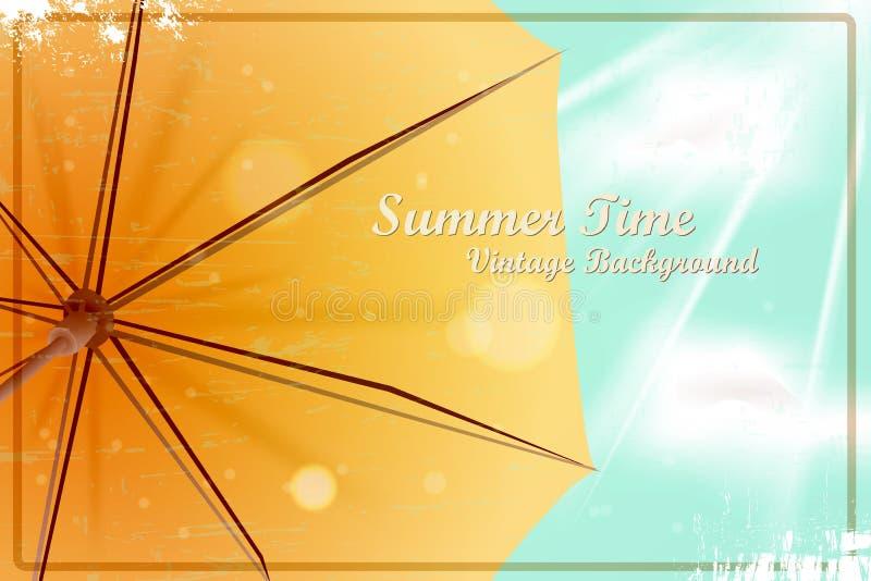 De zomer heldere zonnige uitstekende achtergrond Paraplu onder het blauw stock foto's