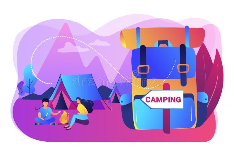 De zomer het kamperen concepten vectorillustratie royalty-vrije illustratie
