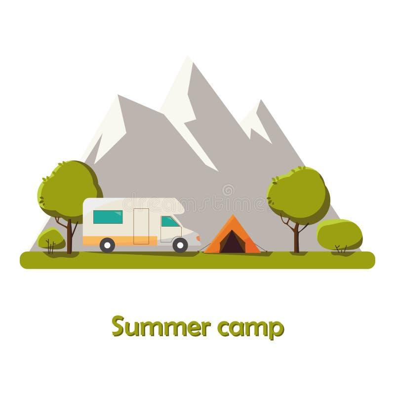 De zomer het kamperen de Zonnige illustratie van het daglandschap in vlakke stijl met tent, kampvuur, bergen, bosachtergrond voor vector illustratie