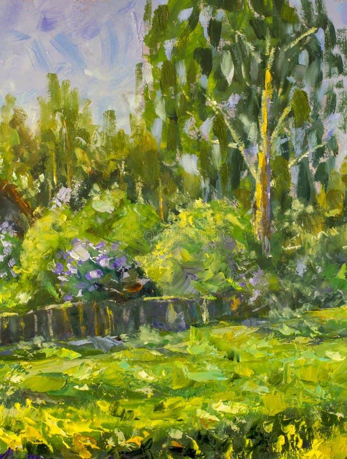 De zomer het landelijke landschap schilderen met olie Fragment van het schilderen Zonnig landelijk landschap, zonnige groene bome stock illustratie
