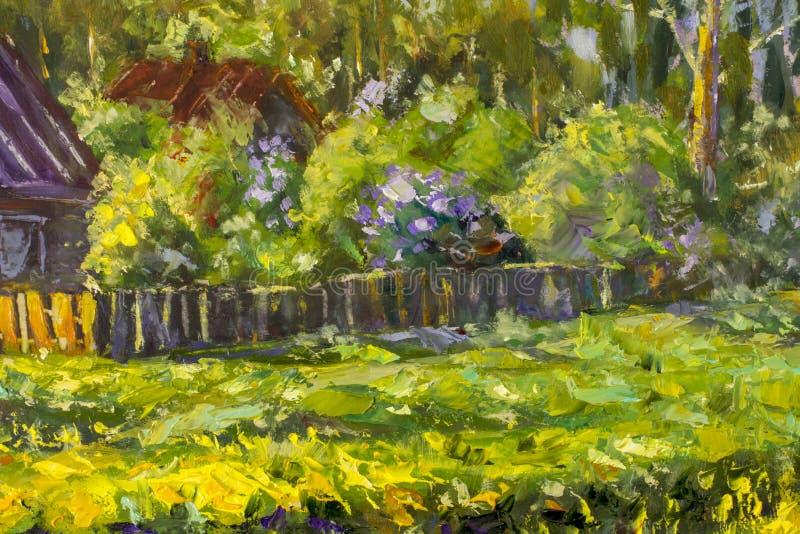De zomer het landelijke landschap schilderen met olie Fragment van het schilderen Zonnig landelijk landschap, zonnige groene bome vector illustratie