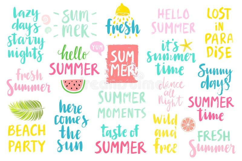 De zomer het Van letters voorzien Geplaatst Ontwerp - getrokken hand royalty-vrije illustratie
