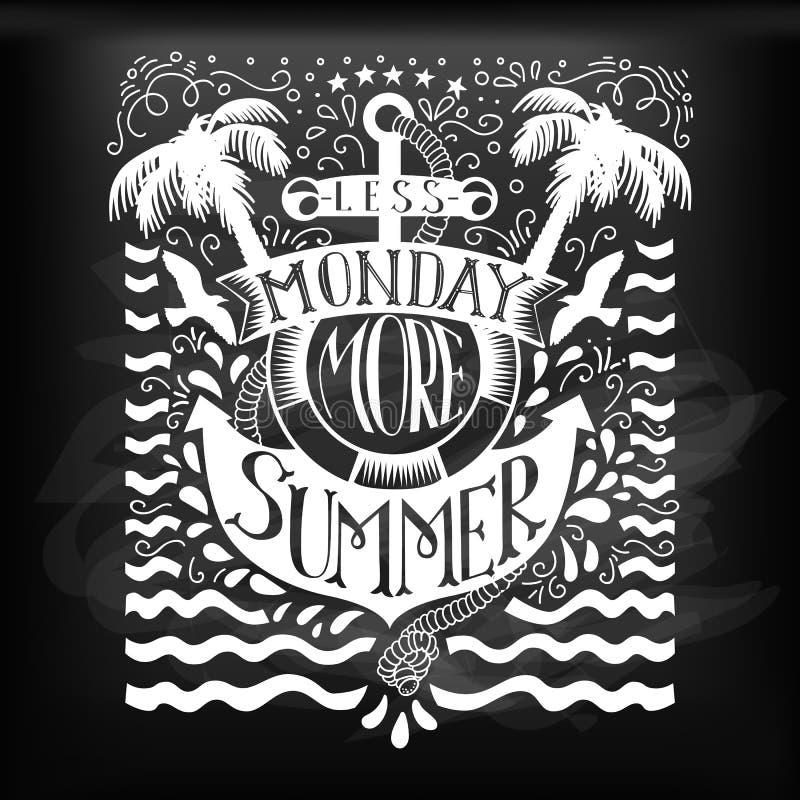 De zomer het van letters voorzien met anker bij bord vector illustratie