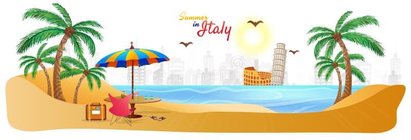De zomer in het Webkopbal of banner van Italië met de modieuze bedelaars van de tekstreis royalty-vrije illustratie
