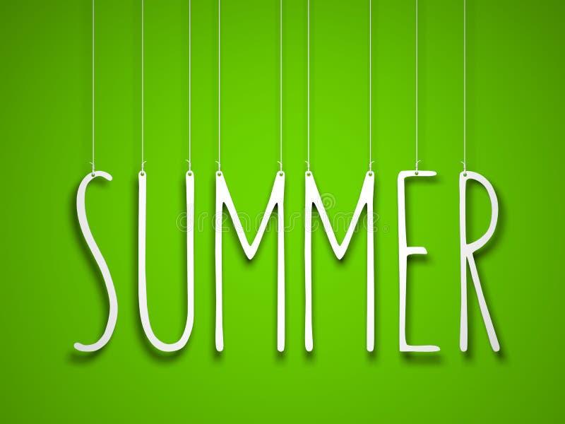 De zomer - het witte woord hangen op groene achtergrond stock illustratie