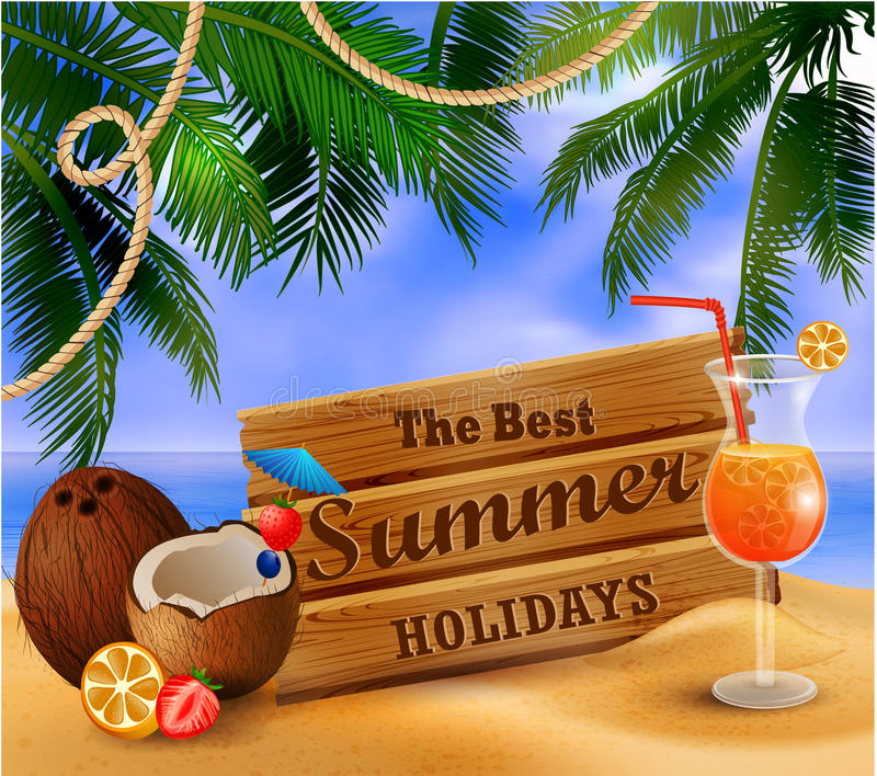 De zomer houten teken op tropische strandachtergrond royalty-vrije illustratie