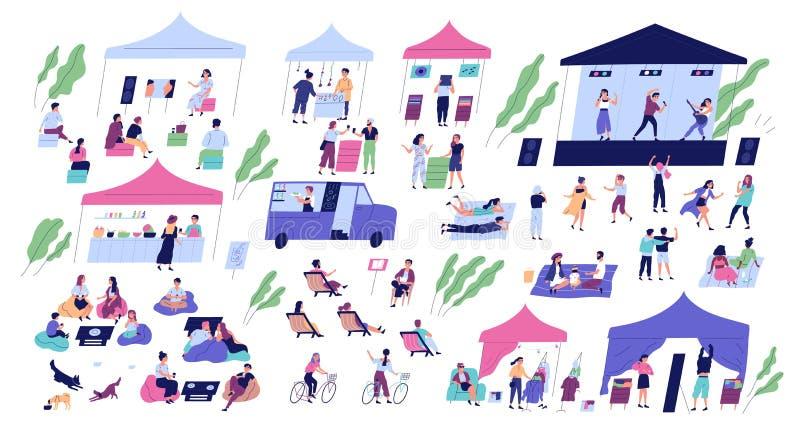 De zomer indie openluchtfestival met stadium voor muziekprestaties, boxen of kiosken die goederen, voedselvrachtwagens verkopen e stock illustratie