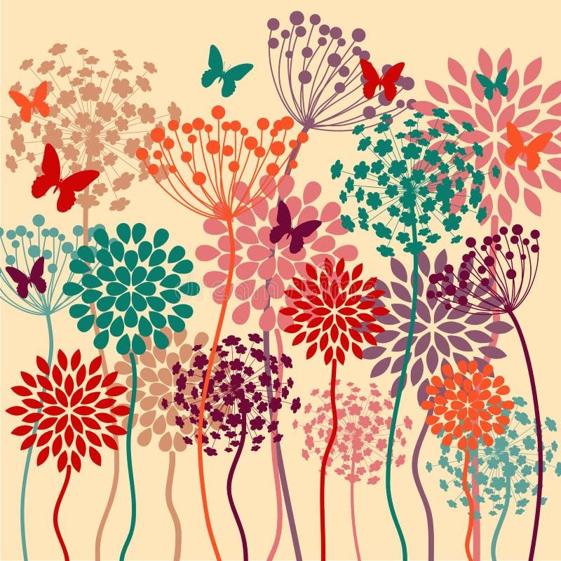 De zomer kleurrijke vectorachtergrond met bloemen en vlinders vector illustratie
