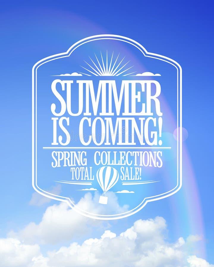 De zomer is komende affiche, de inzamelingen van de verkooplente vector illustratie