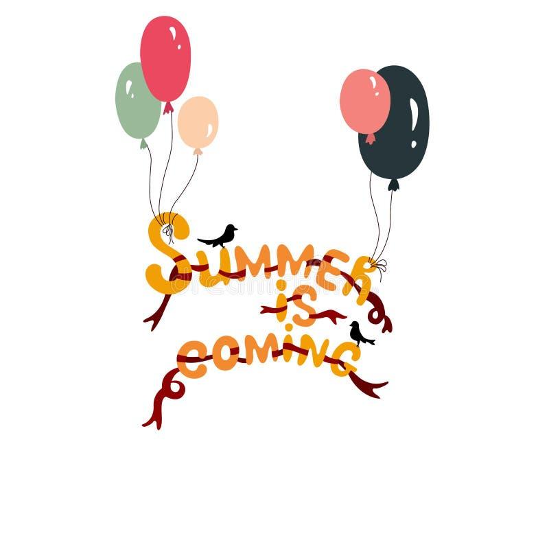 De zomer komt Het met de hand geschreven van letters voorzien vector illustratie