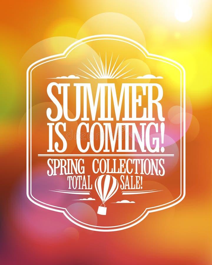 De zomer komt, totaal de verkoopontwerp van de lenteinzamelingen vector illustratie