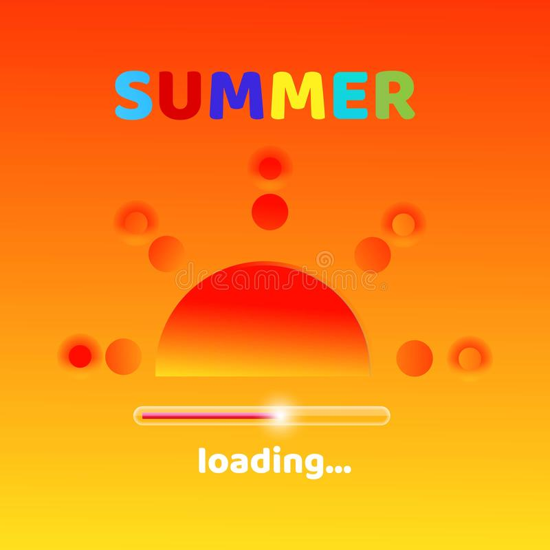 De zomer laadt creatief grafisch bericht voor uw de zomerontwerp Vage oranje achtergrond met kleurrijke typografie vector illustratie