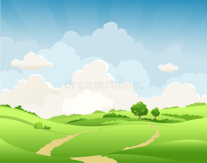 De zomer landelijk landschap stock illustratie
