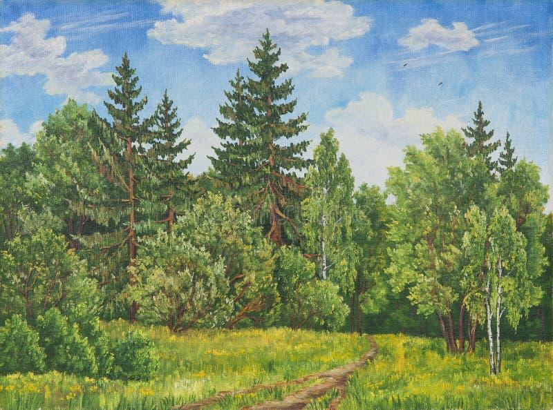 De zomer landelijk landschap in Rusland Een gebied en een bos, een hoog gras Origineel olieverfschilderij op canvas stock foto