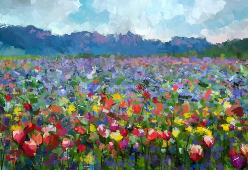 De zomer landelijk landschap van de olieverfschilderij Kleurrijk lente vector illustratie