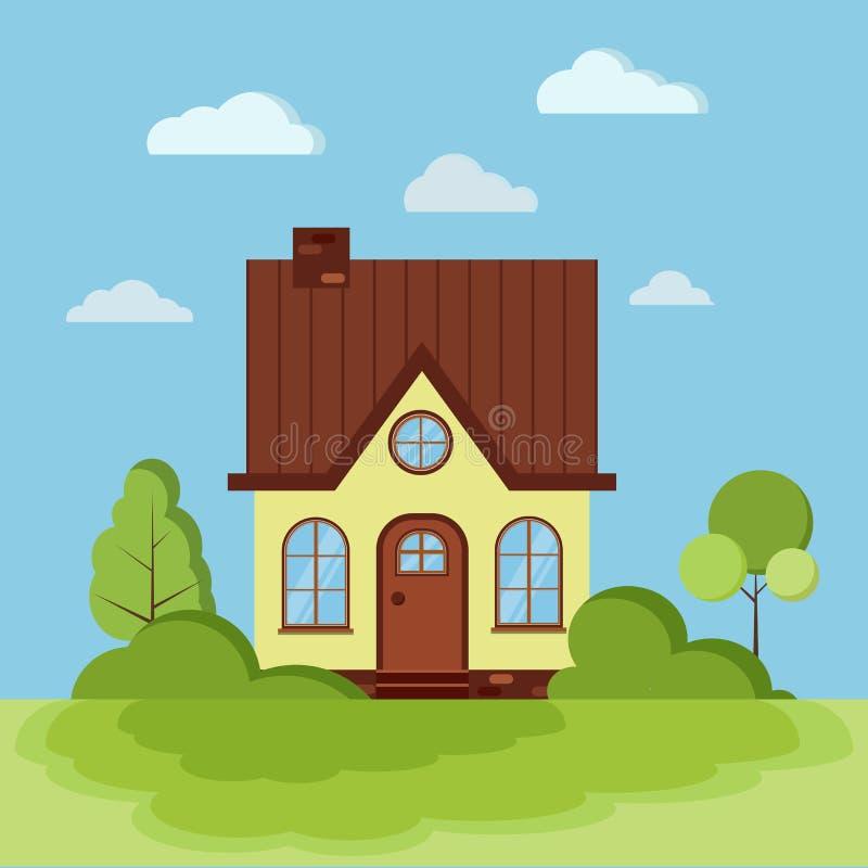 De zomer of de lente de groene scène van de landschapsaard met geel landelijk huis met schoorsteen, zolder royalty-vrije illustratie