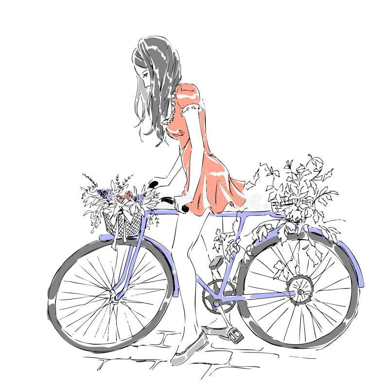 De zomer of de lentetijd, leuk elegant meisje die een fiets met bloemenmanden berijden royalty-vrije illustratie