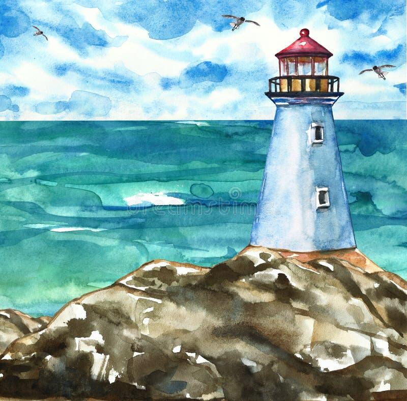 De zomer marien kunstwerk met vuurtoren op rotsen en overzeese mening Het Schilderen van de waterverf royalty-vrije illustratie