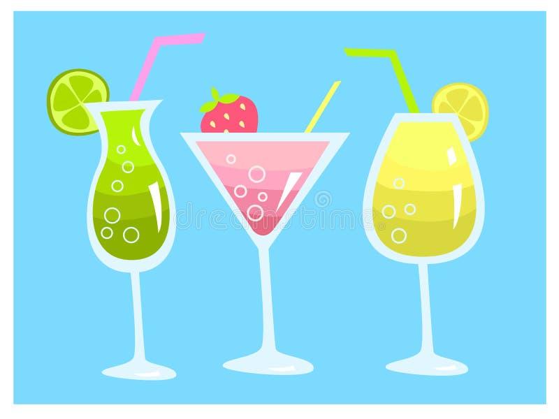 De zomer met kalk, de citroen en de aardbei die van drie de verse cocktailsdranken wordt geplaatst vector illustratie
