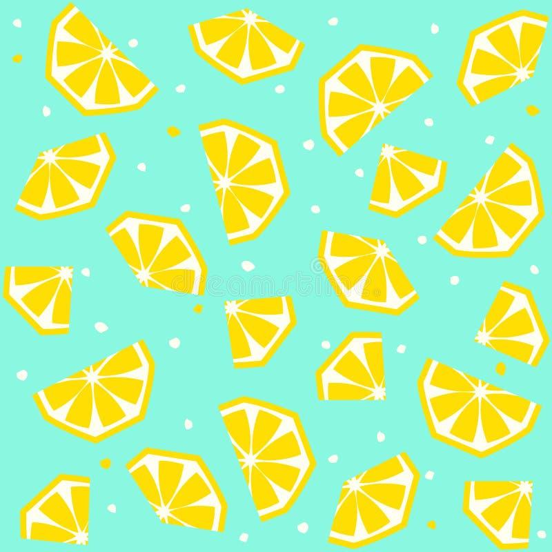 De zomer naadloos patroon met citroen, vectorachtergrond stock illustratie