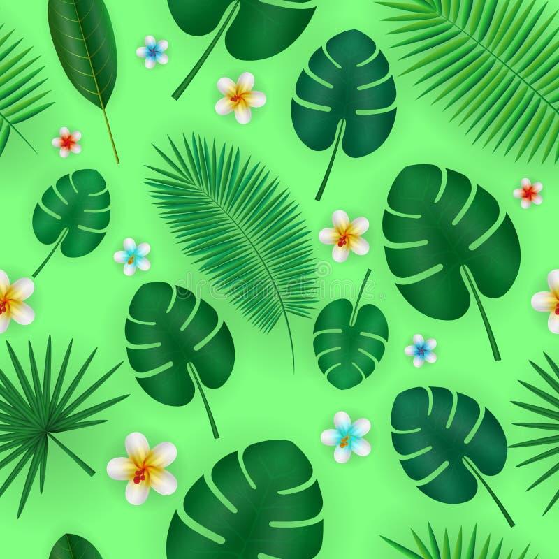 De zomer naadloos patroon met realistisch tropisch palmbladenontwerp Exotische wildernisachtergrond vector illustratie