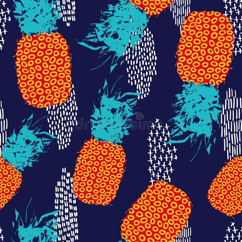De zomer naadloos patroon met retro kleurenananas vector illustratie