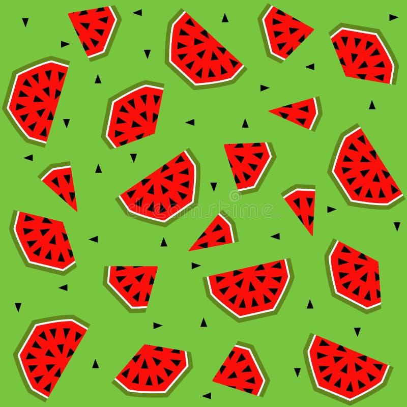 De zomer naadloos patroon met watermeloen, vectorachtergrond vector illustratie