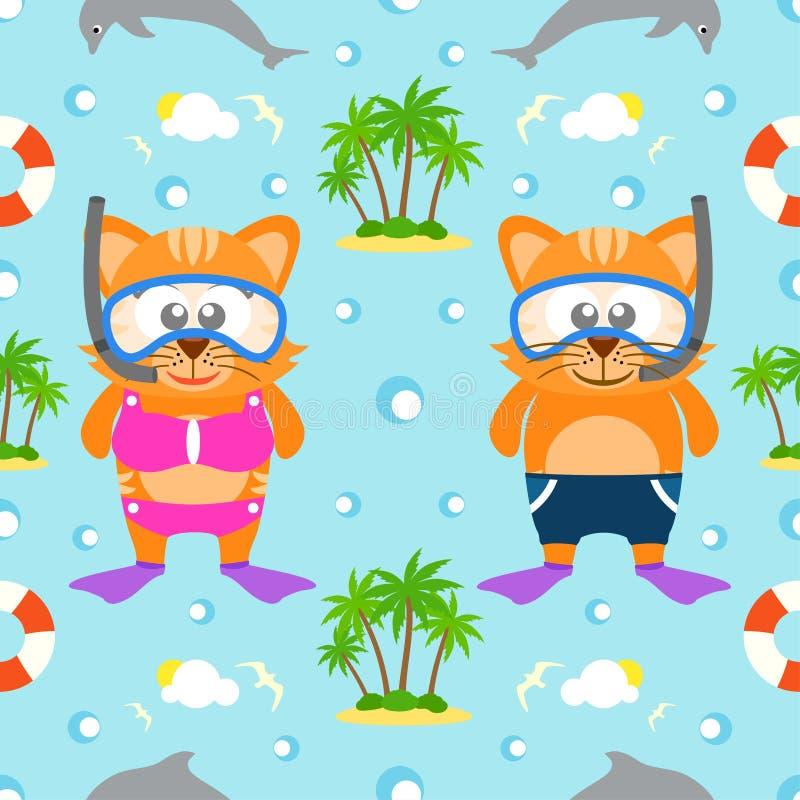 De zomer naadloze achtergrond met kat vector illustratie