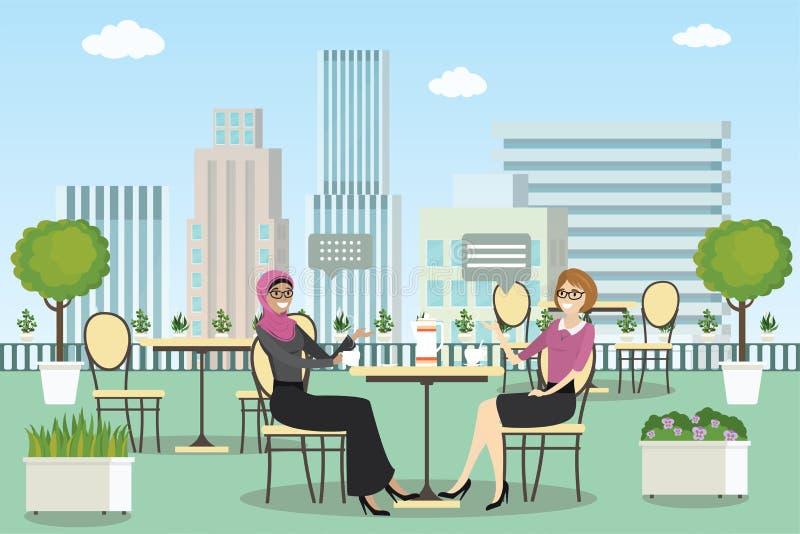 De zomer openluchtkoffie of restaurant met lijsten en stoelen vector illustratie