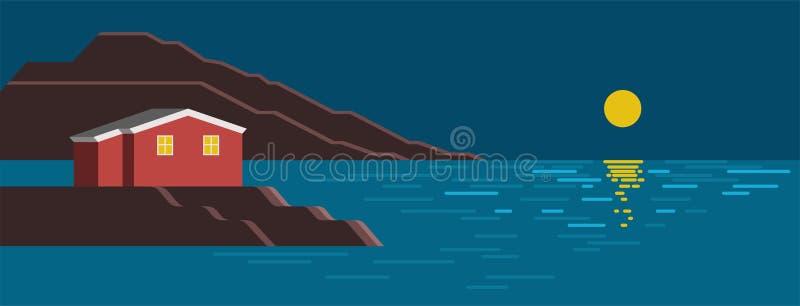 De zomer overzees nacht kleurrijk landschap vector illustratie