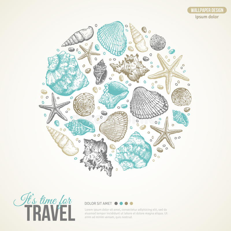 De zomer Overzees Shells Concept Het kan voor prestaties van het ontwerpwerk noodzakelijk zijn stock illustratie