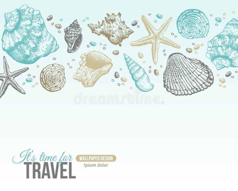De zomer Overzeese Shells Prentbriefkaarontwerp vector illustratie