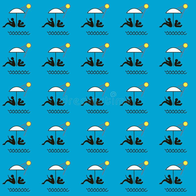 De zomer patern, familie onder een paraplu op het strand stock illustratie