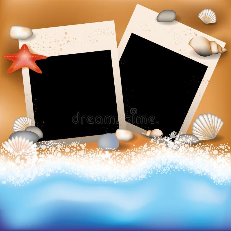 De zomer photoframe met zeester vector illustratie