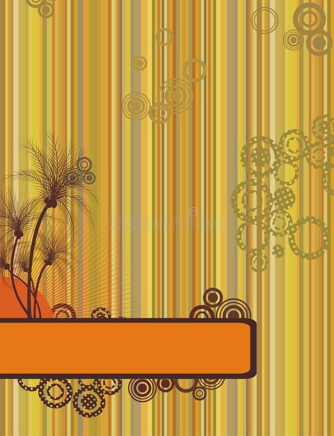 De zomer retro frame van Grunge met palmen stock illustratie