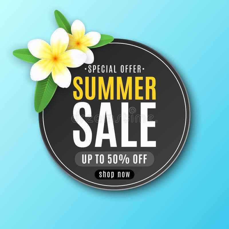 De zomer rond etiket voor verkoop Speciale aanbieding Realistische tropische plumeriabloemen Seizoengebonden Webbanner voor uw za vector illustratie
