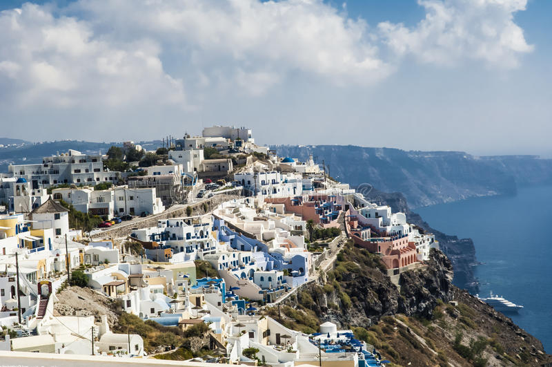 De zomer in Santorini stock afbeeldingen