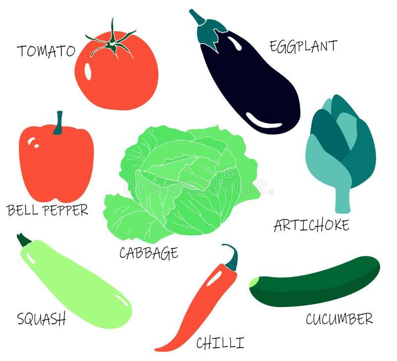 De zomer seizoengebonden inzameling - tomaat; aubergine; kool; Spaanse pepers; komkommer; artisjok; pompoen; groene paprika royalty-vrije illustratie