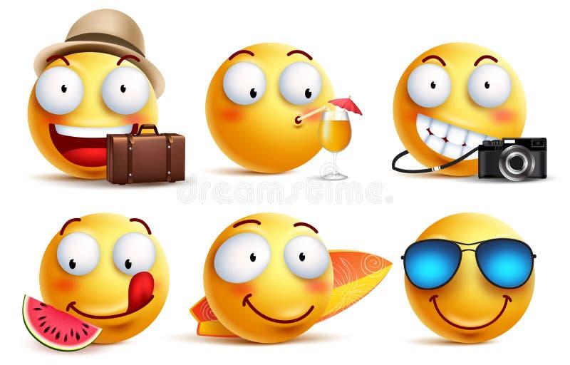 De zomer smileys vector met gelaatsuitdrukkingen wordt geplaatst die Geel smileygezicht emoticons vector illustratie