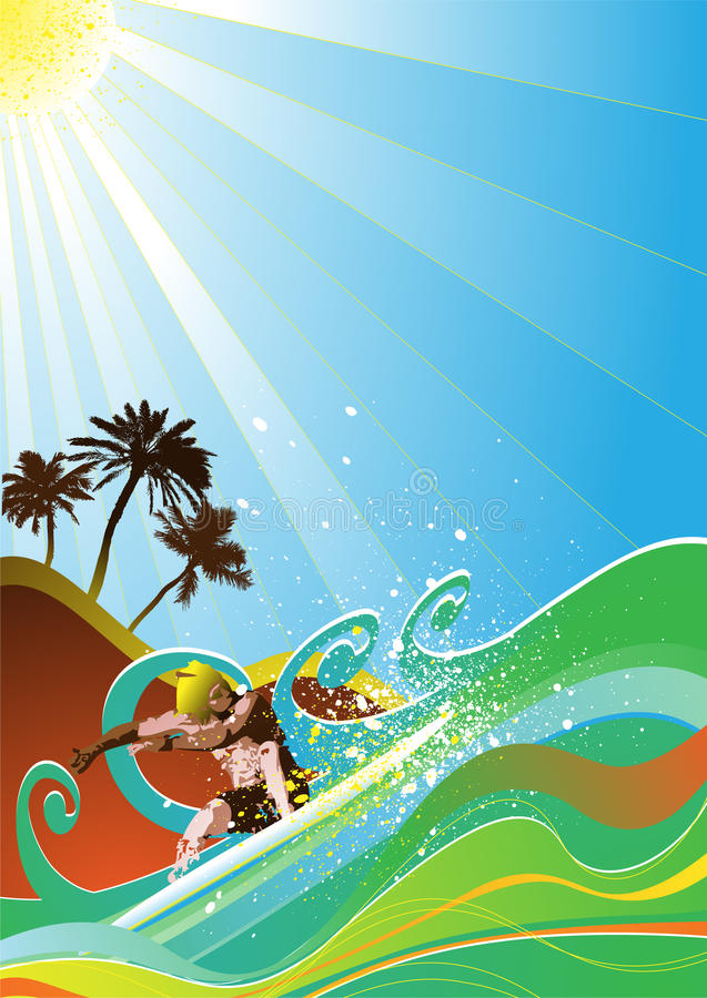 de zomer surfer vector stock illustratie