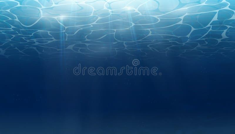De zomer Textuur van waterspiegel Onderwaterachtergrond met golflichten, bellen van lucht, stralen van zonneschijn Golven vector illustratie