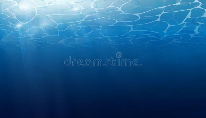 De zomer Textuur van waterspiegel Onderwaterachtergrond met golflichten, bellen van lucht, stralen van zonneschijn Golven stock illustratie