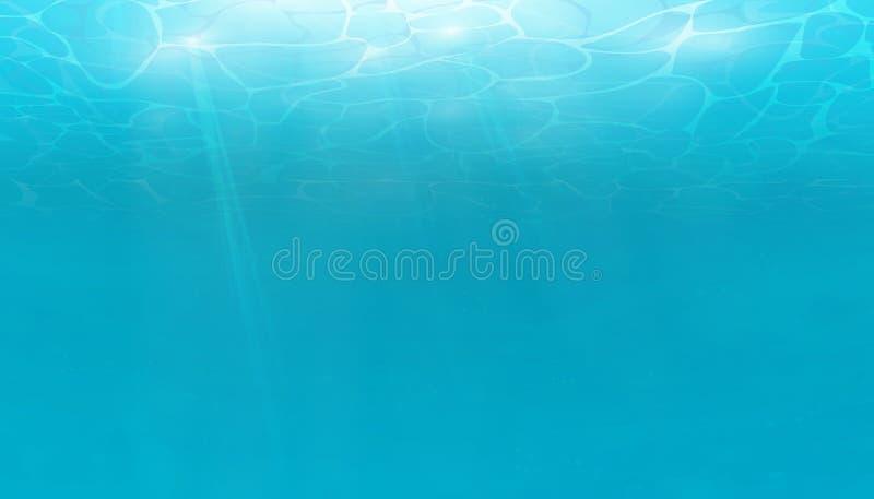 De zomer Textuur van waterspiegel Onderwaterachtergrond met golflichten, bellen van lucht, stralen van zonneschijn Golvengevolgen royalty-vrije illustratie
