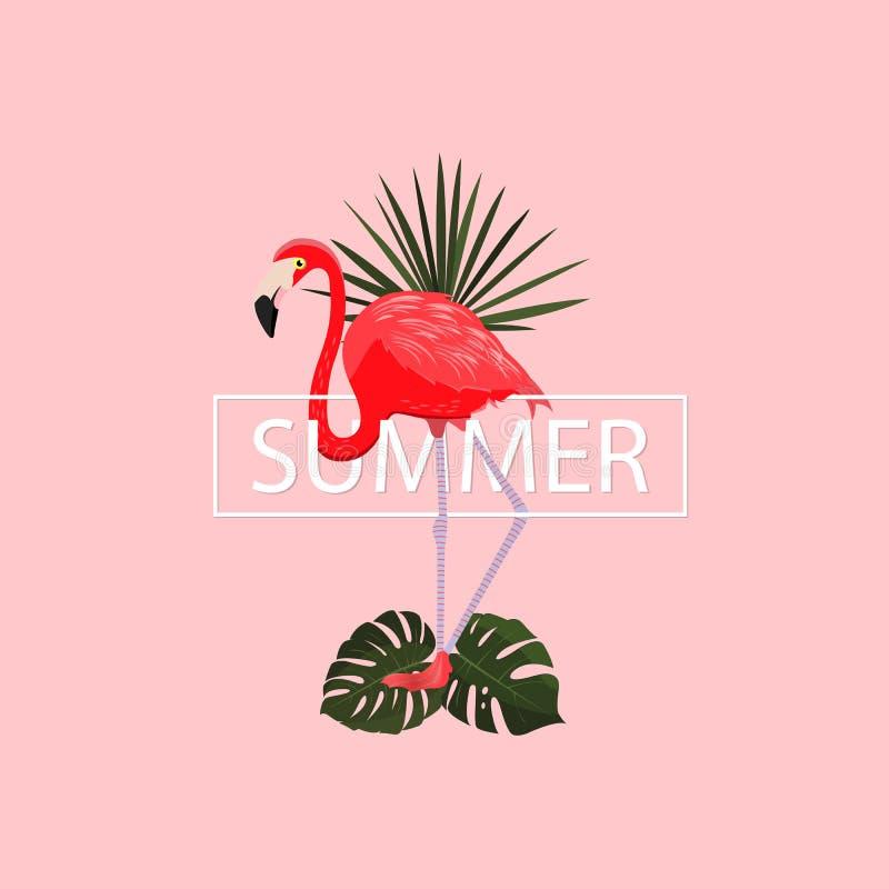 De zomer tropische affiche Vector illustratie De zomer roze achtergrond met elegante flamingo en tropische bladeren Exotische vog royalty-vrije illustratie