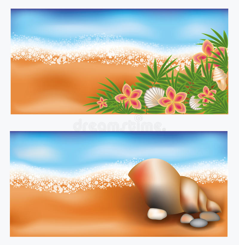 De zomer tropische banners met bloemen en zeeschelp vector illustratie