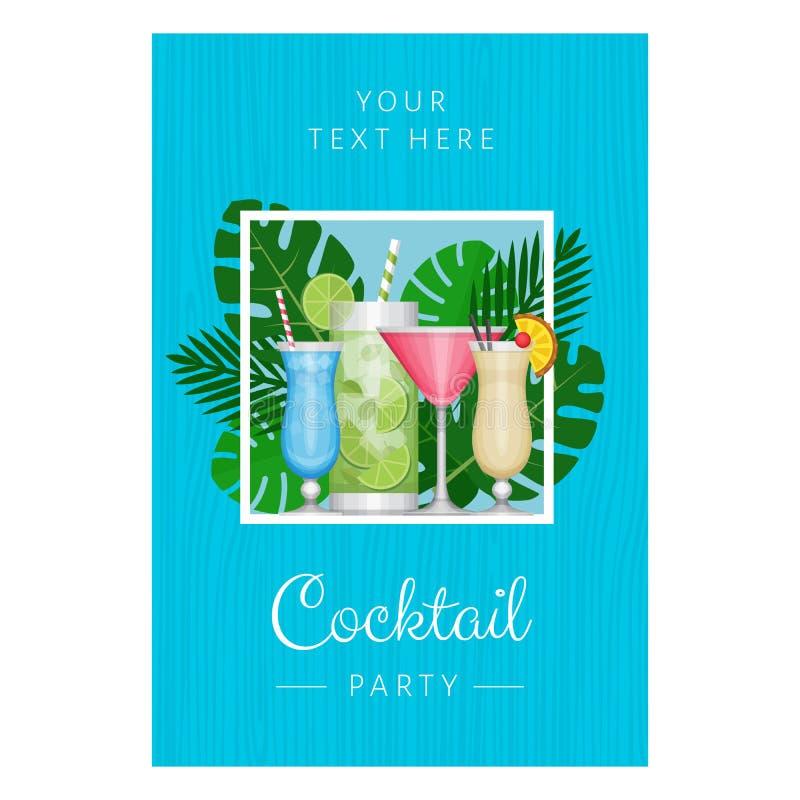 De zomer tropische cocktail met palmbladen Cocktail partyaffiche vector illustratie