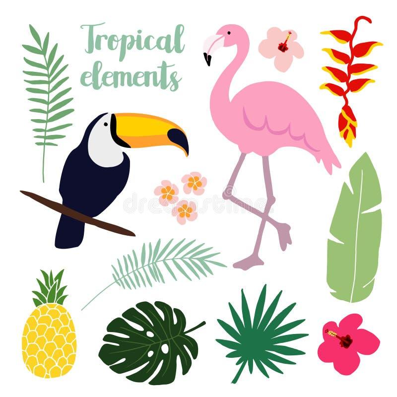 De zomer tropische elementen Toekan en flamingovogel Wildernis bloemenillustraties, palmbladen, s royalty-vrije illustratie