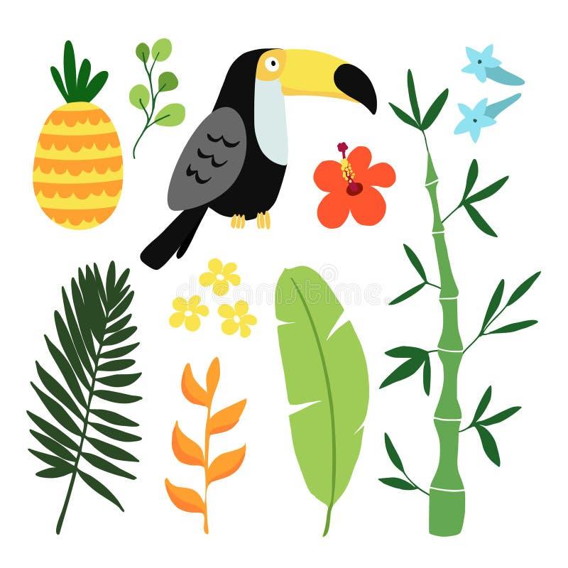 De zomer tropische grafische elementen De vogel van de toekan Wildernis bloemenillustraties, palmbladen, ananas en hibiscusbloeme vector illustratie